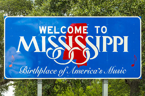 Photo of Road Sign Welcome to Mississippi