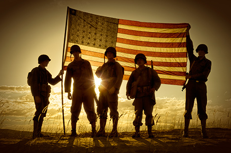 Photo of American soldiers with American flag