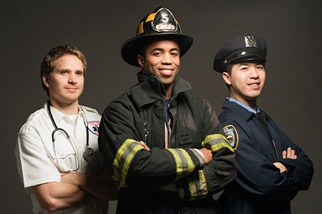 Photo of doctor, fireman, and policeman