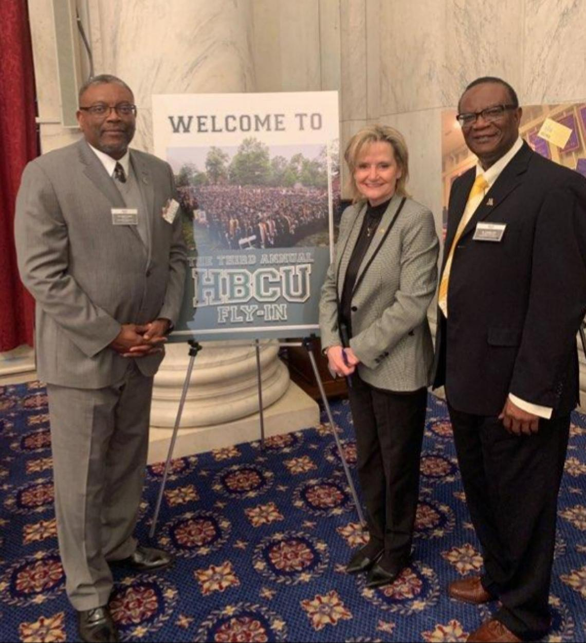 "Senator Hyde-Smith speaks at the HBCU ""Fly In"" and visits with Alcorn State University Interim President Dr. Donzell Lee and Mississippi Valley State University President Dr. Jerryl Briggs"