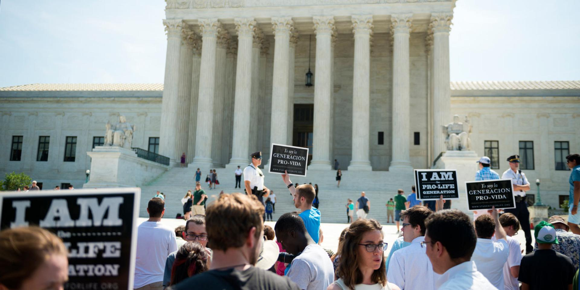 Photo of protesters in front of the United States Supreme Court