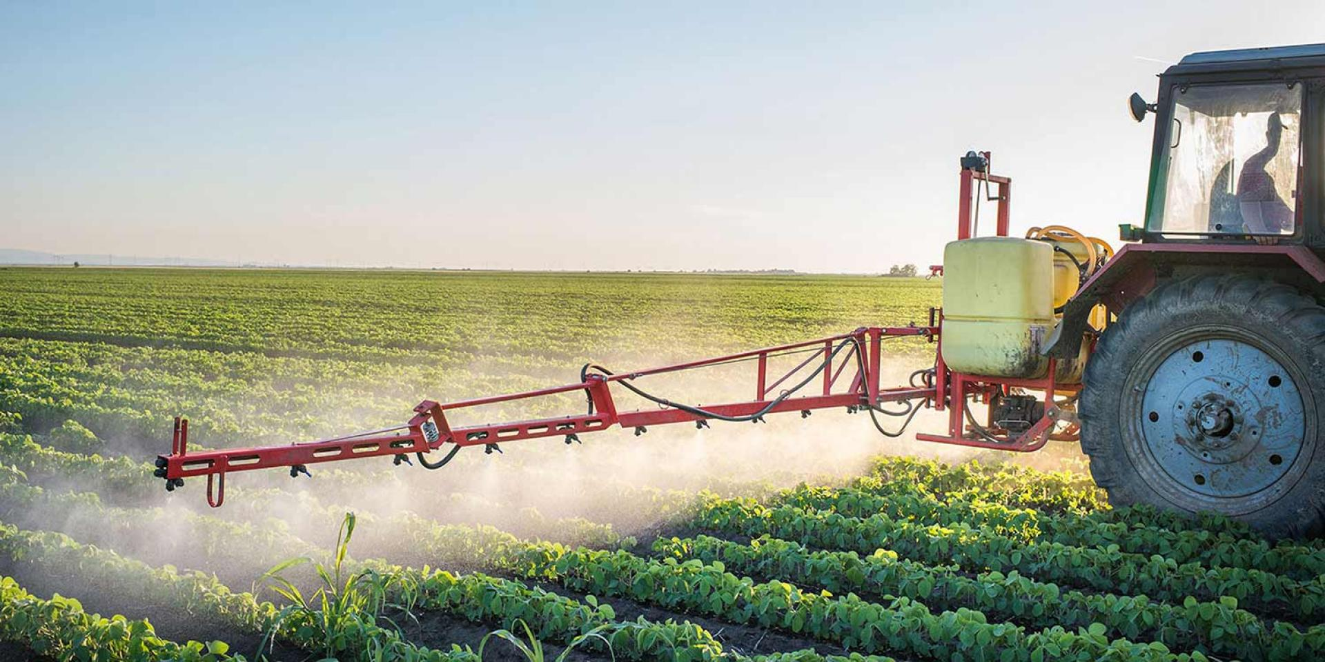 Photo of a tractor spraying